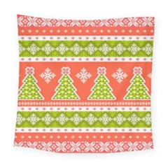 Christmas Tree Ugly Sweater Pattern Square Tapestry (large) by allthingseveryone