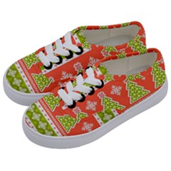 Christmas Tree Ugly Sweater Pattern Kids  Classic Low Top Sneakers by AllThingsEveryone