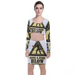 Save A Fuse Blow An Electrician Long Sleeve Crop Top & Bodycon Skirt Set