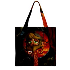 Funny Giraffe With Helmet Grocery Tote Bag by FantasyWorld7