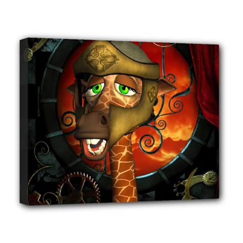 Funny Giraffe With Helmet Deluxe Canvas 20  X 16   by FantasyWorld7
