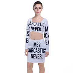 Me Sarcastic Never Long Sleeve Crop Top & Bodycon Skirt Set