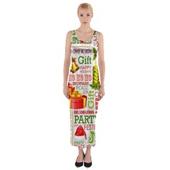 The Joys Of Christmas Fitted Maxi Dress