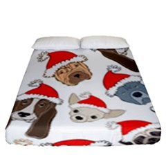 Christmas Puppies Fitted Sheet (queen Size) by allthingseveryone