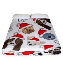Christmas Puppies Fitted Sheet (california King Size) by allthingseveryone