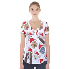 Christmas Puppies Short Sleeve Front Detail Top by AllThingsEveryone