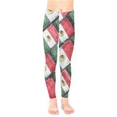 Mexican Flag Pattern Design Kids  Legging by dflcprints