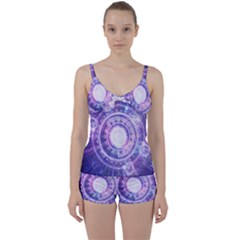 Blue Fractal Alchemy Hud For Bending Hyperspace Tie Front Two Piece Tankini
