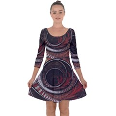 The Thousand And One Rings Of The Fractal Circus Quarter Sleeve Skater Dress
