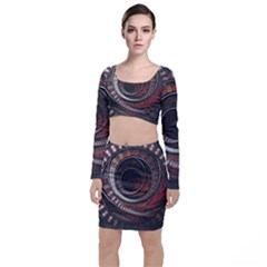 The Thousand And One Rings Of The Fractal Circus Long Sleeve Crop Top & Bodycon Skirt Set