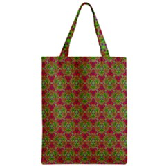 Red Green Flower Of Life Drawing Pattern Zipper Classic Tote Bag by Cveti