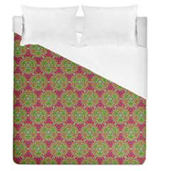 Red Green Flower Of Life Drawing Pattern Duvet Cover (queen Size) by Cveti