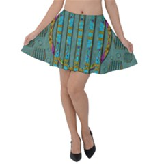 Freedom Is Every Where Just Love It Pop Art Velvet Skater Skirt