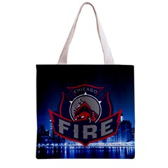 Chicago Fire With Skyline Grocery Tote Bag by allthingseveryone