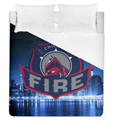 Chicago Fire With Skyline Duvet Cover (queen Size) by allthingseveryone