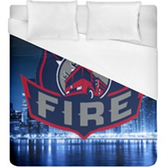 Chicago Fire With Skyline Duvet Cover (king Size) by allthingseveryone