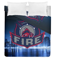 Chicago Fire With Skyline Duvet Cover Double Side (queen Size) by allthingseveryone