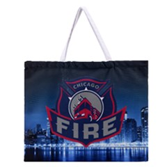 Chicago Fire With Skyline Zipper Large Tote Bag by allthingseveryone