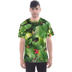 Christmas Season Floral Green Red Skimmia Flower Men s Sports Mesh Tee by yoursparklingshop
