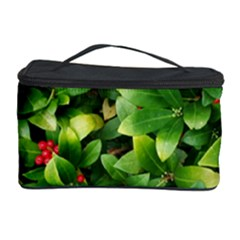 Christmas Season Floral Green Red Skimmia Flower Cosmetic Storage Case by yoursparklingshop