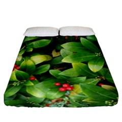 Christmas Season Floral Green Red Skimmia Flower Fitted Sheet (california King Size) by yoursparklingshop