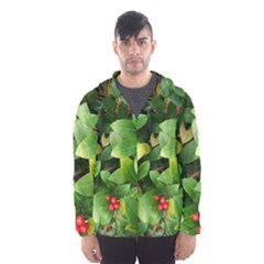 Christmas Season Floral Green Red Skimmia Flower Hooded Wind Breaker (men) by yoursparklingshop