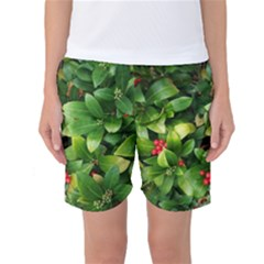 Christmas Season Floral Green Red Skimmia Flower Women s Basketball Shorts by yoursparklingshop