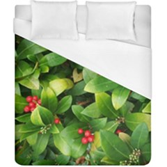 Christmas Season Floral Green Red Skimmia Flower Duvet Cover (california King Size) by yoursparklingshop