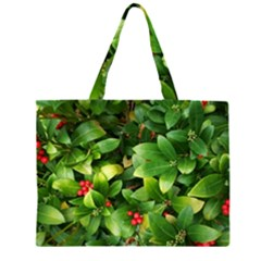 Christmas Season Floral Green Red Skimmia Flower Zipper Large Tote Bag by yoursparklingshop