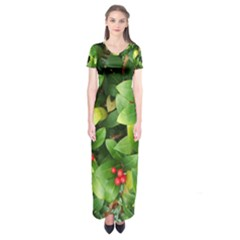 Christmas Season Floral Green Red Skimmia Flower Short Sleeve Maxi Dress by yoursparklingshop