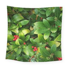 Christmas Season Floral Green Red Skimmia Flower Square Tapestry (large) by yoursparklingshop