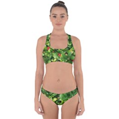 Christmas Season Floral Green Red Skimmia Flower Cross Back Hipster Bikini Set by yoursparklingshop