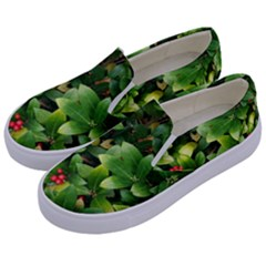 Christmas Season Floral Green Red Skimmia Flower Kids  Canvas Slip Ons by yoursparklingshop