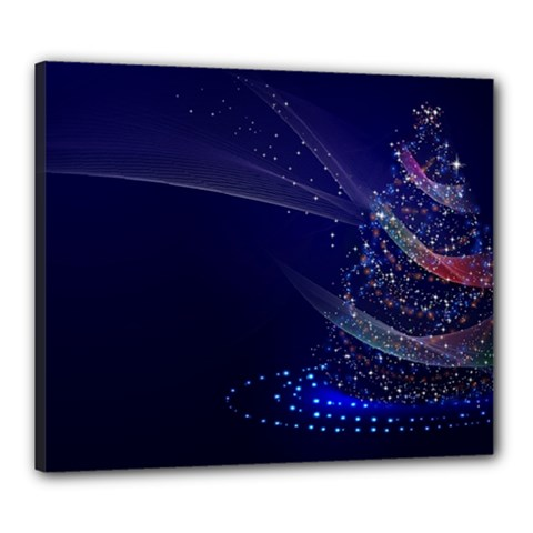 Christmas Tree Blue Stars Starry Night Lights Festive Elegant Canvas 24  X 20  by yoursparklingshop