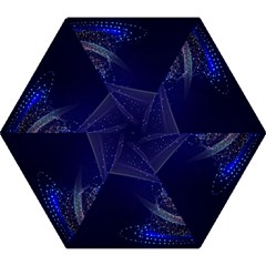 Christmas Tree Blue Stars Starry Night Lights Festive Elegant Mini Folding Umbrellas by yoursparklingshop