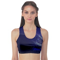 Christmas Tree Blue Stars Starry Night Lights Festive Elegant Sports Bra by yoursparklingshop