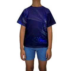 Christmas Tree Blue Stars Starry Night Lights Festive Elegant Kids  Short Sleeve Swimwear by yoursparklingshop