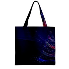 Christmas Tree Blue Stars Starry Night Lights Festive Elegant Grocery Tote Bag by yoursparklingshop