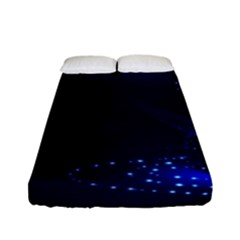 Christmas Tree Blue Stars Starry Night Lights Festive Elegant Fitted Sheet (full/ Double Size) by yoursparklingshop