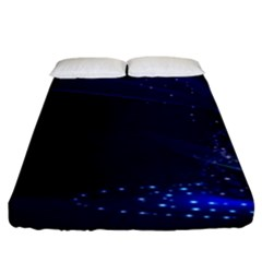 Christmas Tree Blue Stars Starry Night Lights Festive Elegant Fitted Sheet (king Size) by yoursparklingshop