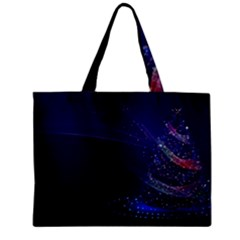 Christmas Tree Blue Stars Starry Night Lights Festive Elegant Zipper Mini Tote Bag by yoursparklingshop