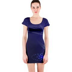 Christmas Tree Blue Stars Starry Night Lights Festive Elegant Short Sleeve Bodycon Dress by yoursparklingshop
