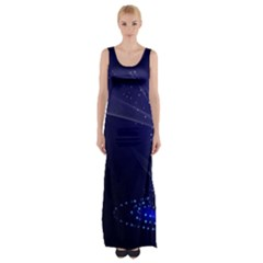 Christmas Tree Blue Stars Starry Night Lights Festive Elegant Maxi Thigh Split Dress by yoursparklingshop