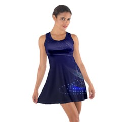 Christmas Tree Blue Stars Starry Night Lights Festive Elegant Cotton Racerback Dress by yoursparklingshop