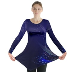 Christmas Tree Blue Stars Starry Night Lights Festive Elegant Long Sleeve Tunic  by yoursparklingshop