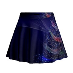 Christmas Tree Blue Stars Starry Night Lights Festive Elegant Mini Flare Skirt by yoursparklingshop
