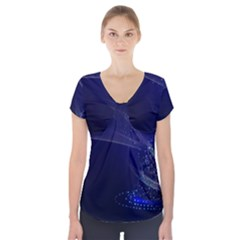 Christmas Tree Blue Stars Starry Night Lights Festive Elegant Short Sleeve Front Detail Top by yoursparklingshop