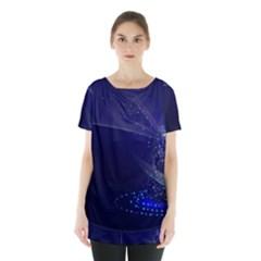 Christmas Tree Blue Stars Starry Night Lights Festive Elegant Skirt Hem Sports Top by yoursparklingshop