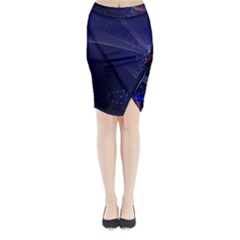 Christmas Tree Blue Stars Starry Night Lights Festive Elegant Midi Wrap Pencil Skirt by yoursparklingshop