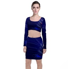 Christmas Tree Blue Stars Starry Night Lights Festive Elegant Long Sleeve Crop Top & Bodycon Skirt Set by yoursparklingshop